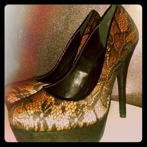 Blush satin/black lace heels
